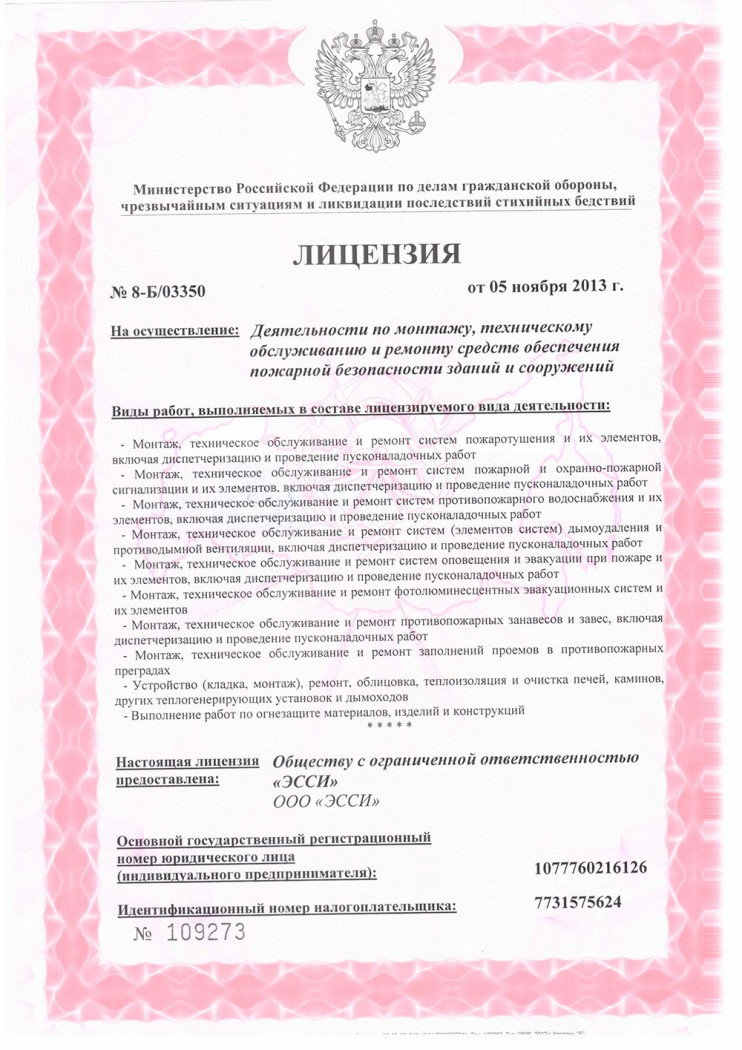 A new license of EMERCOM, Russian Federation (Performance of installation, repair and technical servicing concerning supportive tools for fire safety of buildings and constructions).